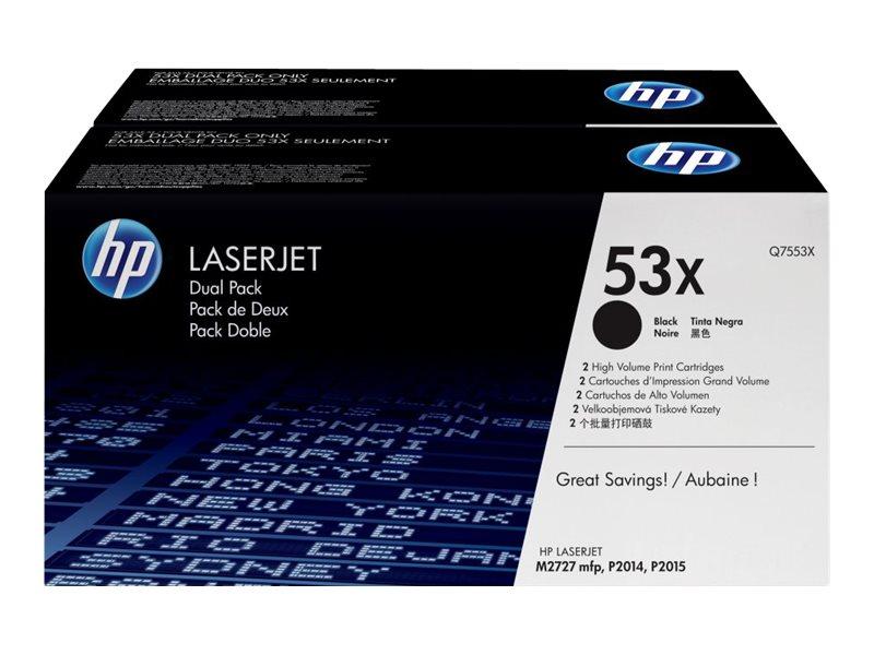 HP 53X - pack de 2 - à rendement élevé - noir - originale - LaserJet - cartouche de toner (Q7553XD)