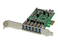 StarTech.com Carte contrôleur PCI Express à 7 ports USB 3.0 - 6 externes 1 interne - Adaptateur PCIe avec alimentation SATA - adaptateur USB