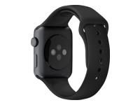 Apple 42mm Sport Band Urrem sort med rumgrå stålnål for Watch (42 mm)