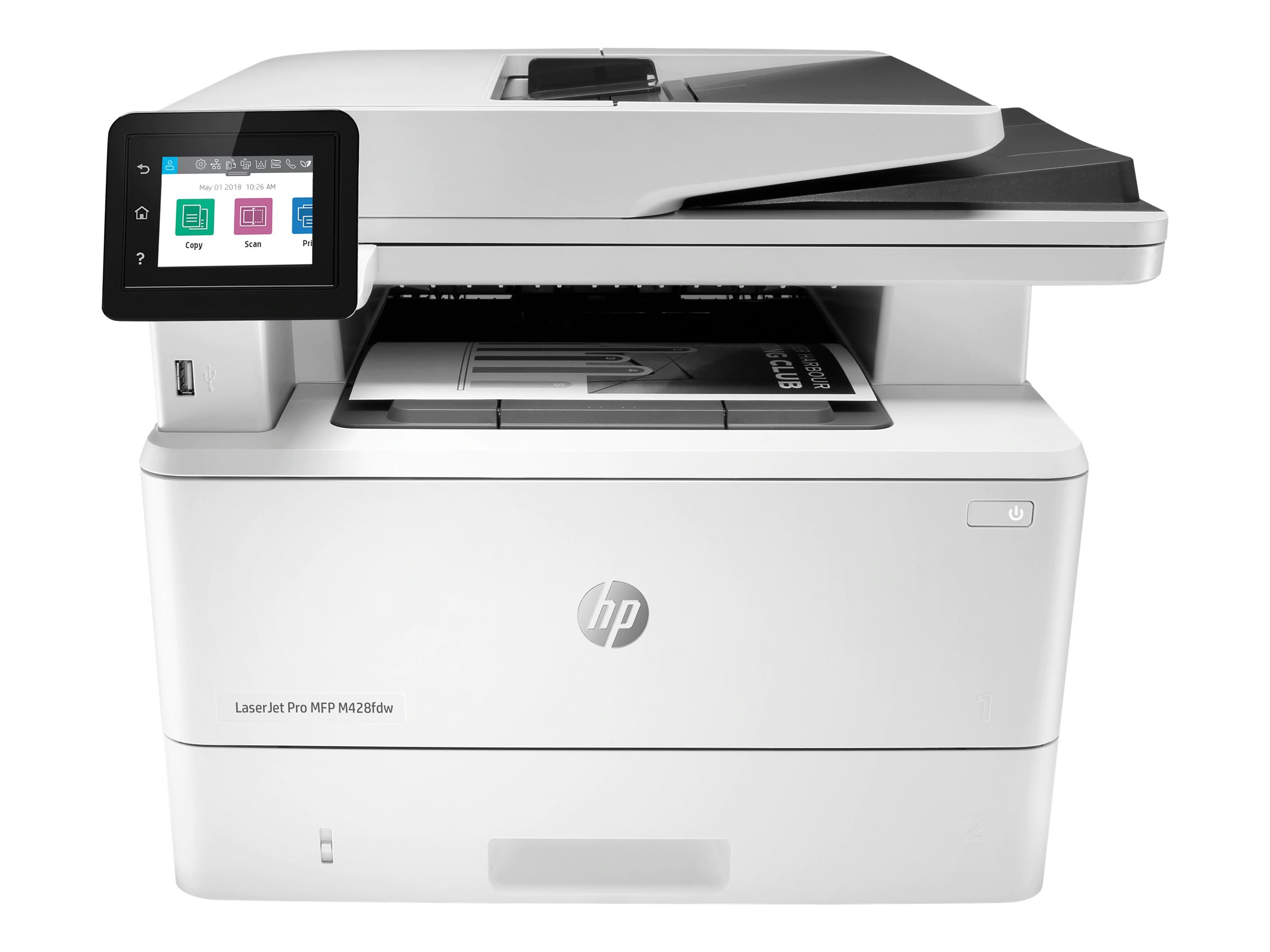 Image de HP LaserJet Pro MFP M428fdw - Imprimante multifonctions - Noir et blanc - laser - Legal (216 x 356 mm) (original) - A4/Legal (support) - jusqu'à 38 ppm (copie) - jusqu'à 38 ppm (impression) - 350 feuilles - 33.6 Kbits/s - USB 2.0, Gigabit LAN, Wi-Fi(n), hôte USB