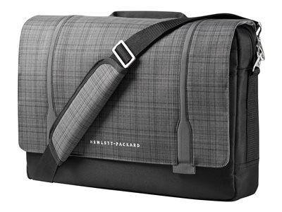 "HP Slim Ultrabook Messenger - Notebook carrying case - 15.6"" - gray plaid, black twill - for Chromebook 13 G1; Chromebook x360; EliteBook 1030 G1, 820 G4; ProBook 450 G4"