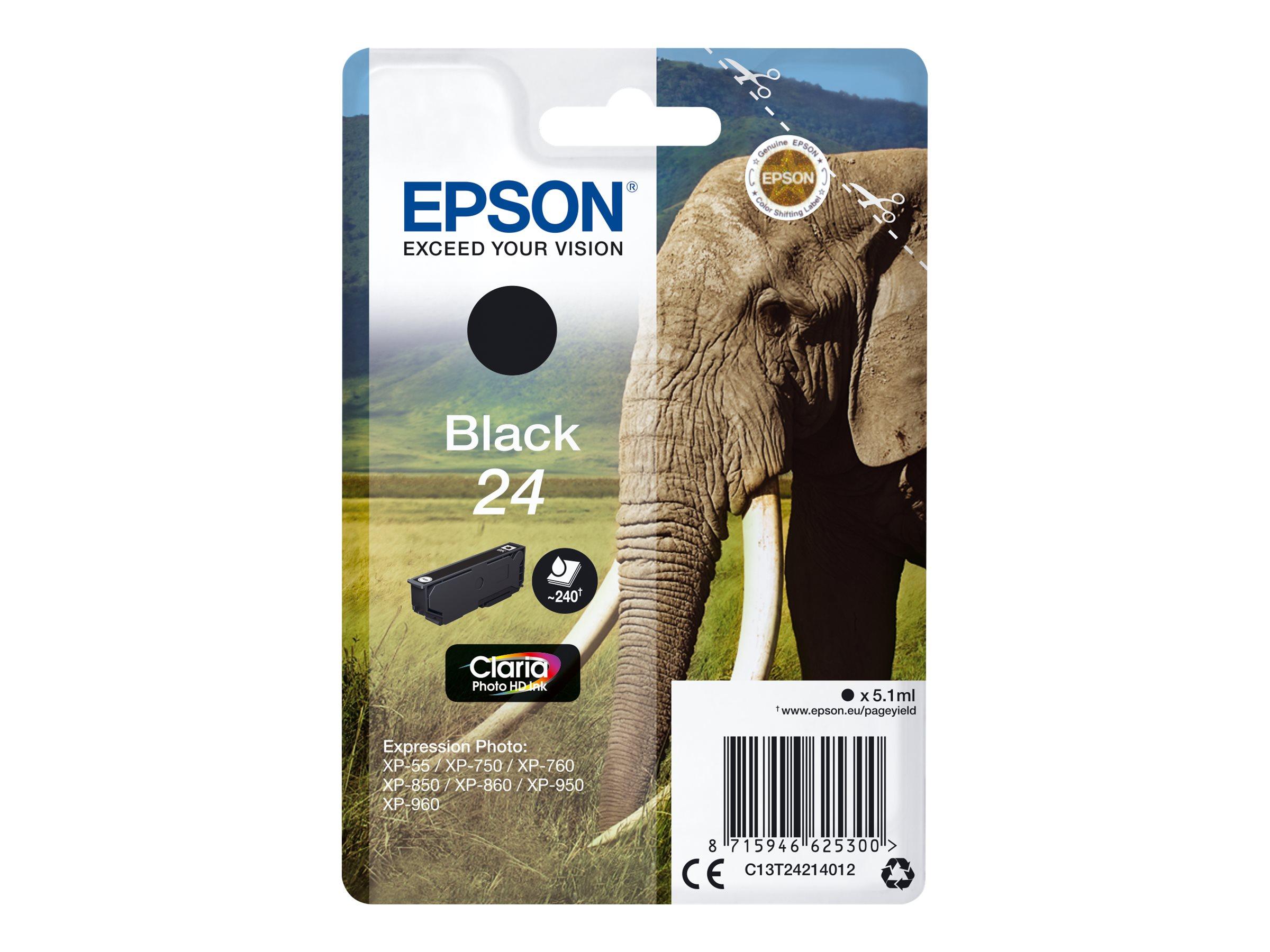 Epson T24 - éléphant - noir - originale - cartouche d'encre