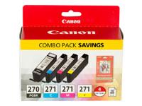 Canon PGI-270/CLI-271 Combo Pack - 4-pack - black, yellow, cyan, magenta - original - ink tank - for PIXMA MG5720, MG5721, MG5722, MG6821, MG6822, MG7720, TS5020, TS6020, TS8020, TS9020