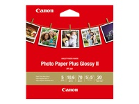 Canon Photo Paper Plus Glossy II PP-301 - High-glossy - 270 micron - 5 in x 5 in - 265 g/m² - 20 sheet(s) photo paper - for PIXMA MG3020, TS5020, TS6020, TS8020, TS9020