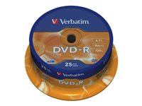 Verbatim 25 x DVD-R 4.7 GB 16x sølvmatteret spindle