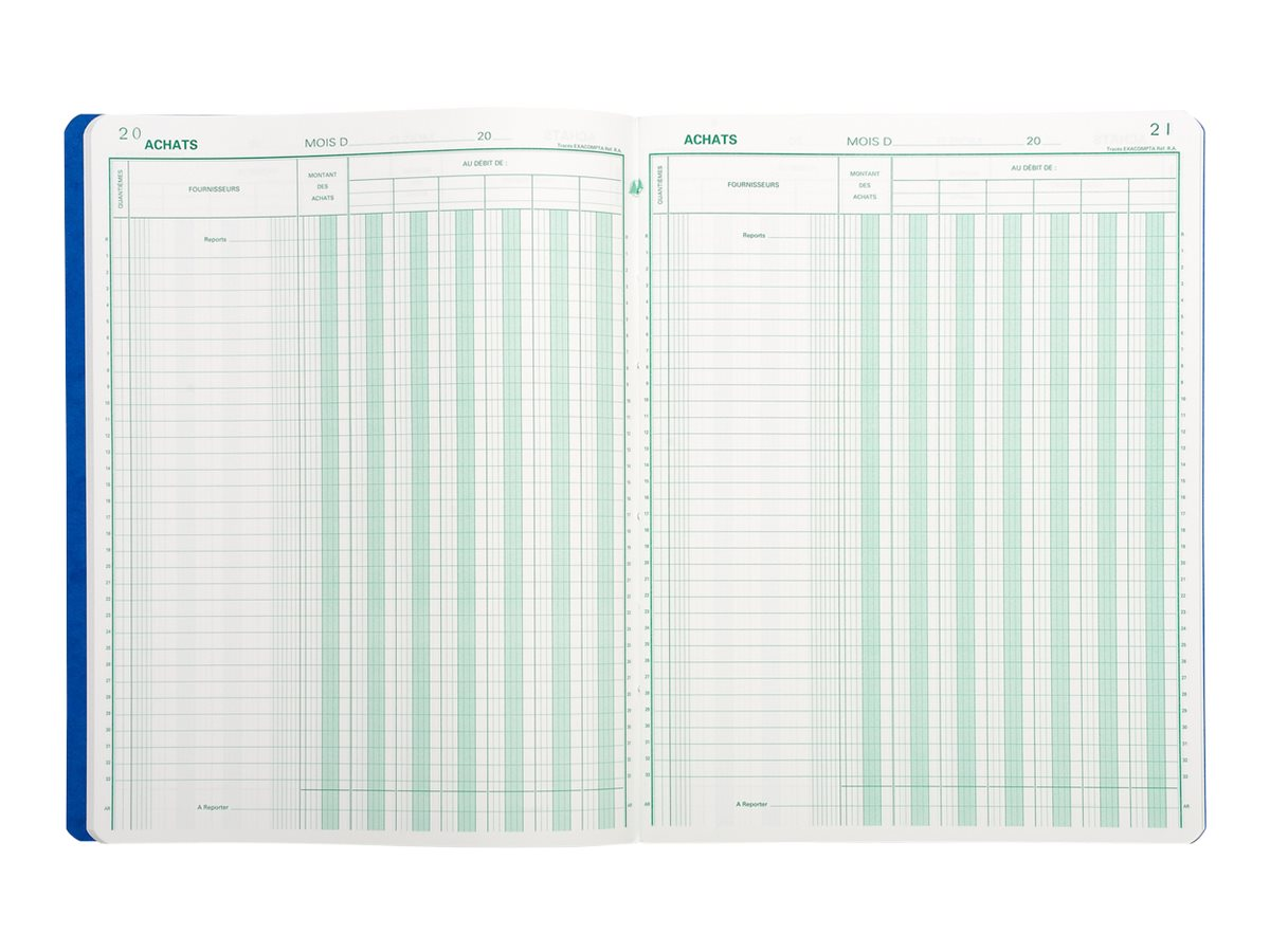 Exacompta - Livre de comptes achat - 80 feuilles - 7 colonnes - 320 x 250 mm