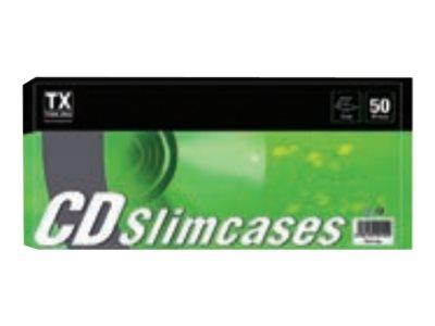 TX - 50 Boîtiers plastiques slim pour stockage CD