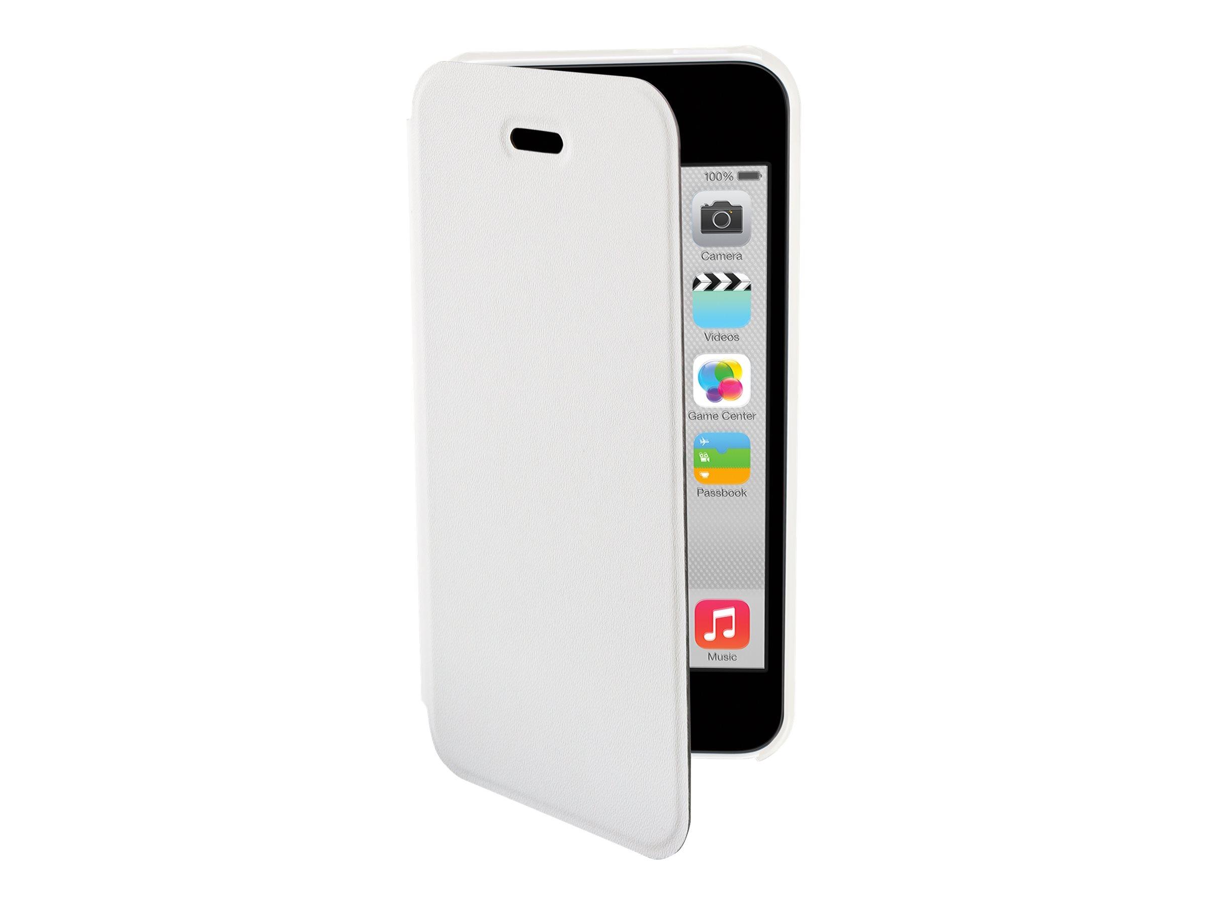 Muvit Easy Folio - Protection à rabat pour iPhone 5c - blanc, translucide