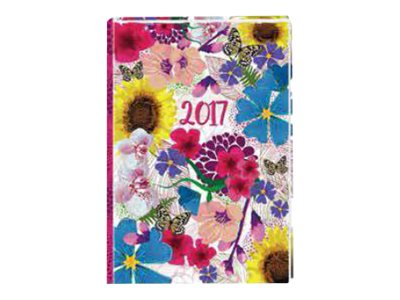 Oberthur Bloom 16 Office - Agenda - 2017 - semainier - 160 x 235 mm - couverture bleue, couverture fushia