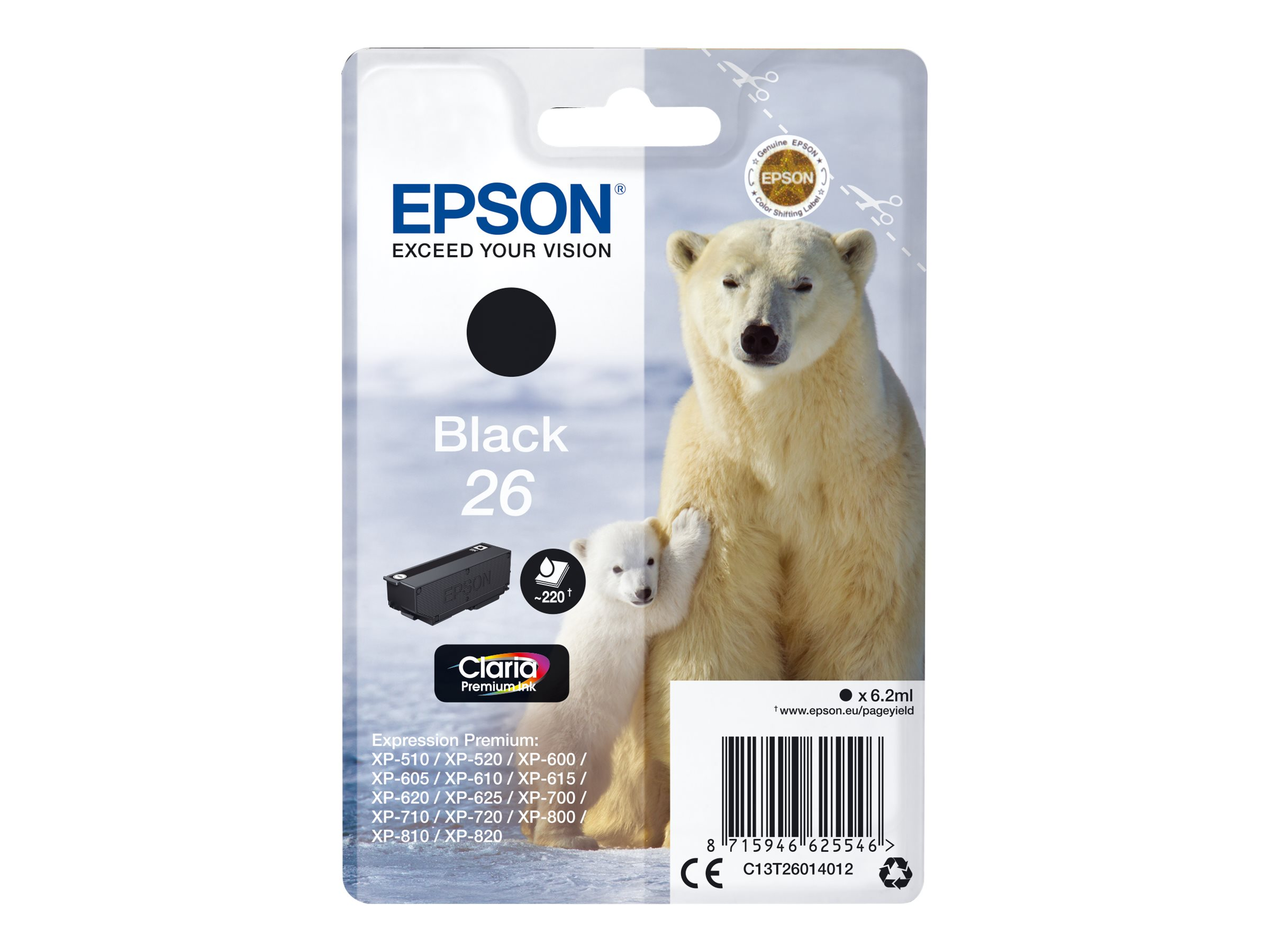 Epson T26 Ours Polaire - noire - originale - cartouche d'encre