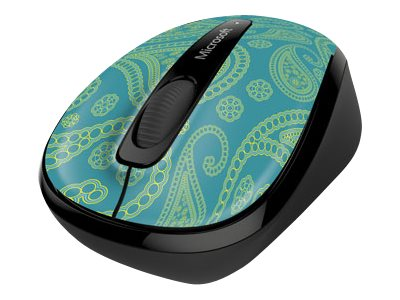Image of Microsoft Wireless Mobile Mouse 3500 - Limited Edition - mouse - 2.4 GHz - aqua paisley