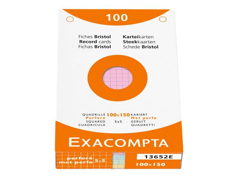 Exacompta - 100 Fiches bristol - petits carreaux -différents coloris et dimensions disponibles
