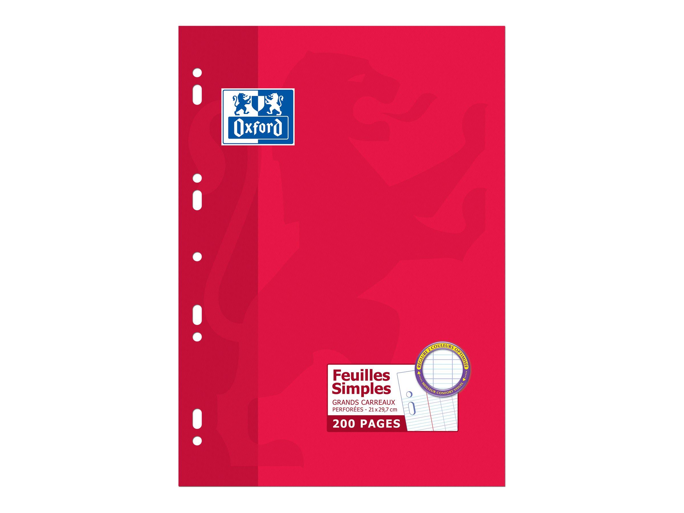 Oxford - A4 - Copies simples - 21 x 29,7 - 200 pages - Grands carreaux
