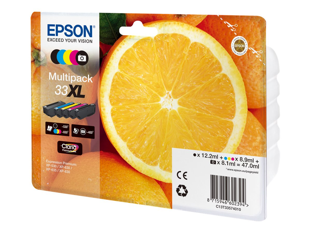 Epson T33XL Multipack - oranges - pack de 5 - noir, jaune, cyan, magenta, photo noire - originale - cartouche d'encre