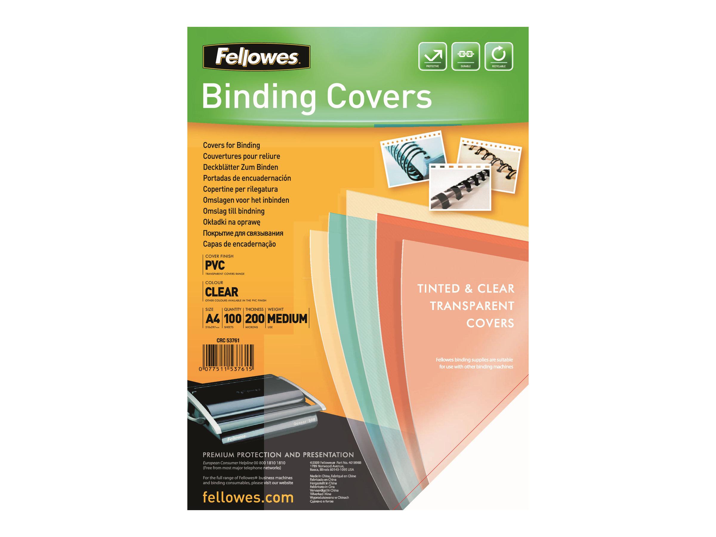 Fellowes - 100 unités - couverture à reliure PVC