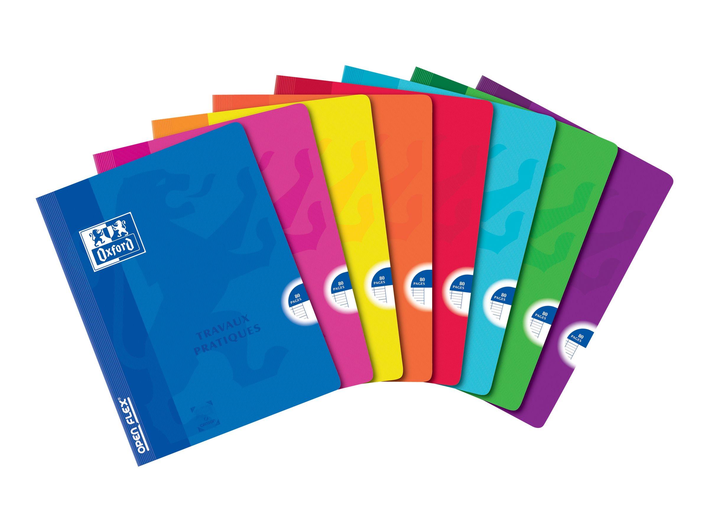 Oxford School Travaux Pratiques Openflex - Cahier d'exercice - 24 x 32 cm - 80 pages - uni, Grands carreaux - disponible dans différentes couleurs