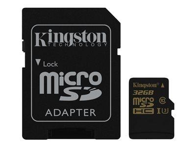 Kingston Gold - Paměťová karta flash (adaptér microSDHC - SD zahrnuto) - 32 GB - UHS-I U3 / Class10 - microSDHC UHS-I