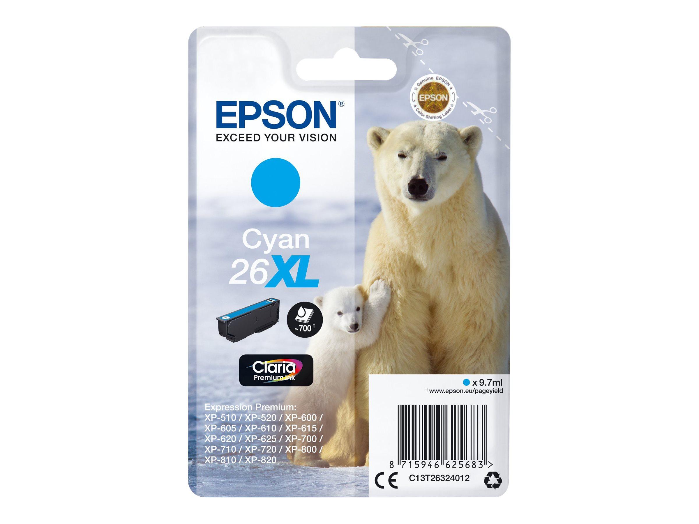 Epson T26XL - ours - taille XL - cyan - originale - cartouche d'encre