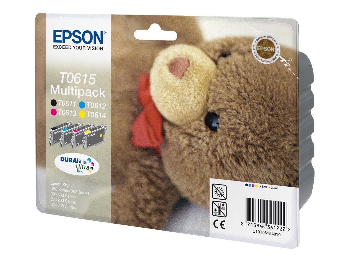 Epson Multipack T0615 - ourson - pack de 4 - noir, jaune, cyan, magenta - originale - cartouche d'encre
