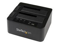 "StarTech.com Dual Bay USB 3.0/ eSATA Hard Drive Duplicator Dock for 2.5"" & 3.5"" SATA SSD HDD with UASP (6Gbps) - Standalone Docking Station (SDOCK2U33RE) - Controlador de almacenamiento con indicador de corriente"