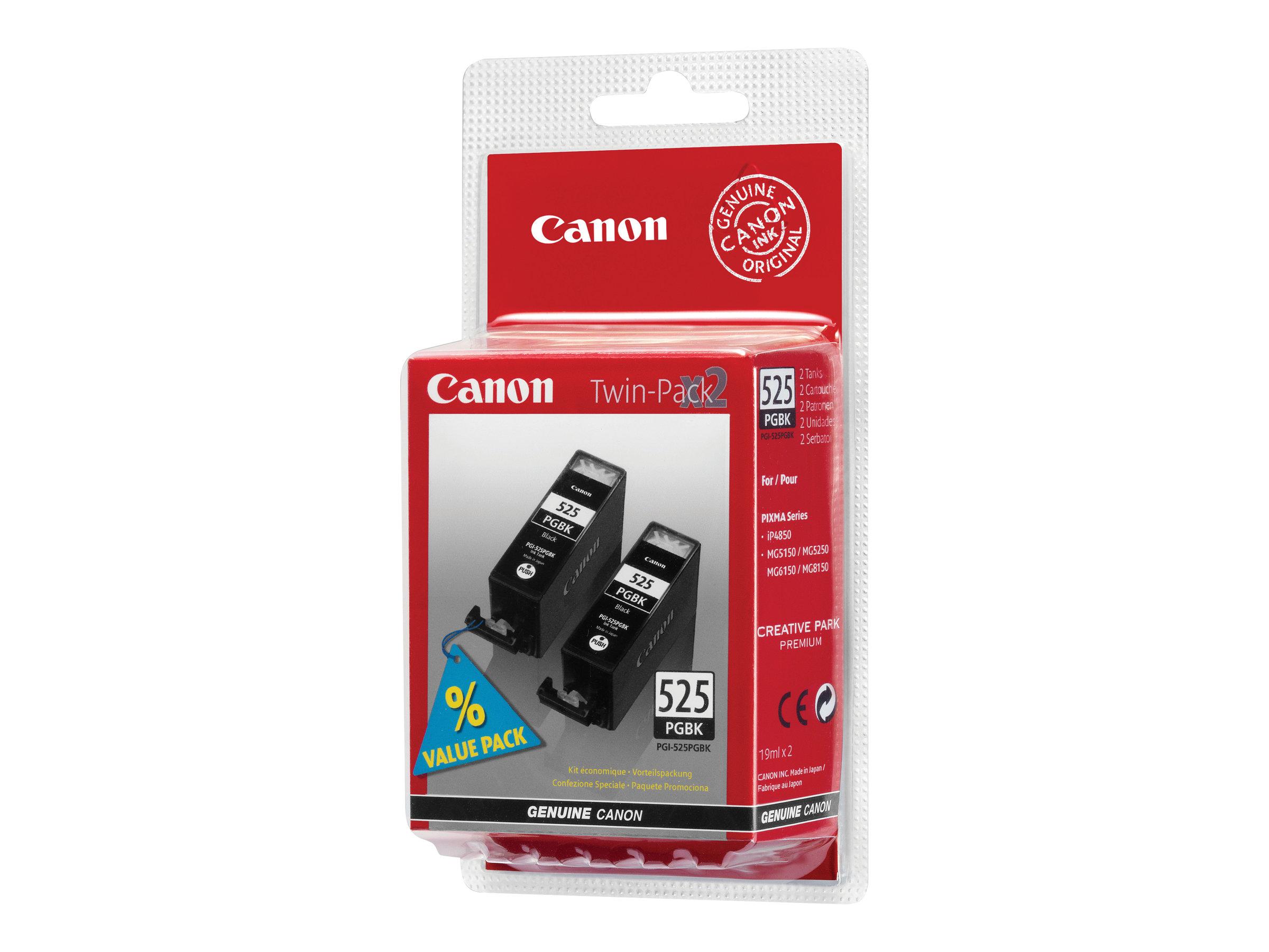 Canon PGI-525PGBK Twin Pack - pack de 2 - noir - originale - réservoir d'encre