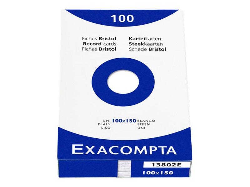 Exacompta - 100 Fiches bristol - 10 x 15 cm - blanc - uni