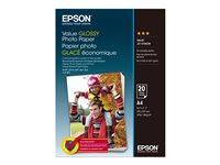 Epson Value - Brillant - A4 (210 x 297 mm) - 183 g/m² - 20 feuille(s) papier photo - pour Epson L382, L386, L486; EcoTank ET-3600