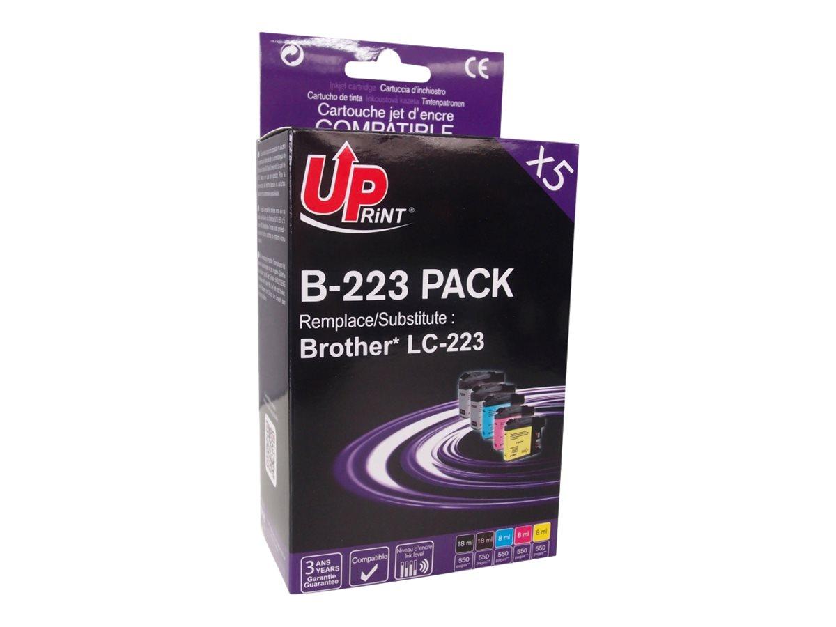Brother LC223 compatible Uprint - Pack de 5 - 2 noires, cyan, magenta, jaune - cartouche d'encre