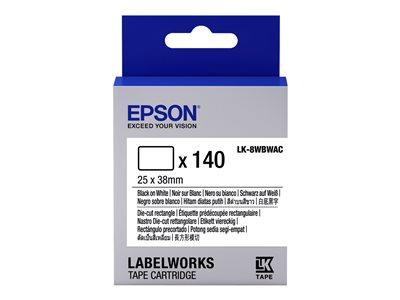 Epson LabelWorks LK-8WBWAC - Černá na bílé - 25 x 38 mm 140 kusy vysekávané štítky - pro LabelWorks LW-1000, LW-300, LW-400, LW-600, LW-700, LW-900, LW-Z900