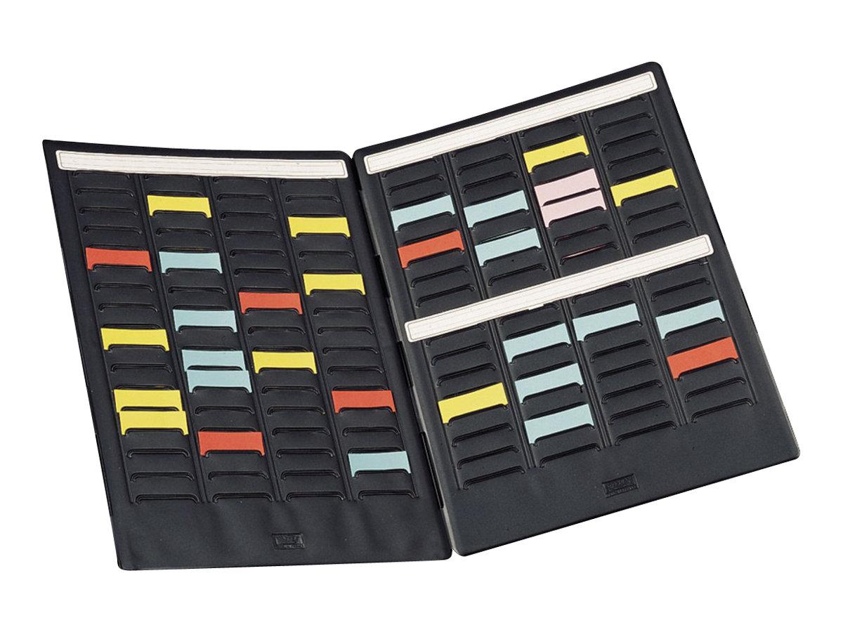 Nobo Mini - Planning à Fiches en T - 17 logements x 4 colonnes - Taille 1,5 - 2 volets - noir
