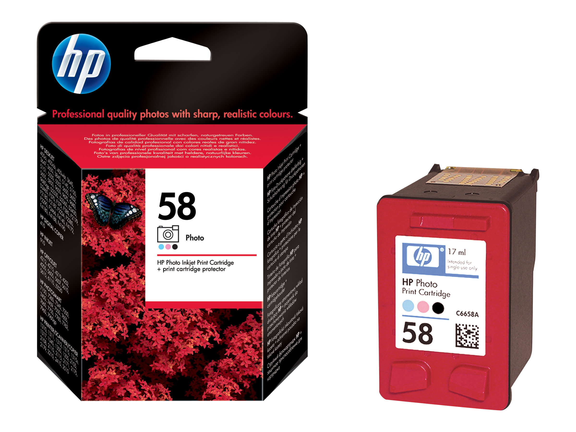 HP 58 - couleur (cyan clair, magenta clair, noir) - originale - cartouche d'impression (photo)