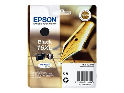 Epson 16XL - 12.9 ml - velikost XL - černá - originál - blistr s RF / akustickým alarmem - inkoustová cartridge - pro WorkForce WF-2010, 2510, 2520, 2530, 2540, 2630, 2650, 2660, 2750, 2760