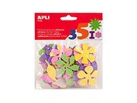 APLI kids - Forme à décorer - 48 mousses - fleurs - couleurs assorties pailletées