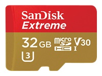 SanDisk Extreme - Flash memory card (microSDHC to SD adapter included) - 32 GB - Video Class V30 / U