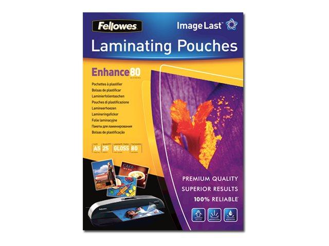 Fellowes - pack de 25 - brillant - pochettes plastifiées