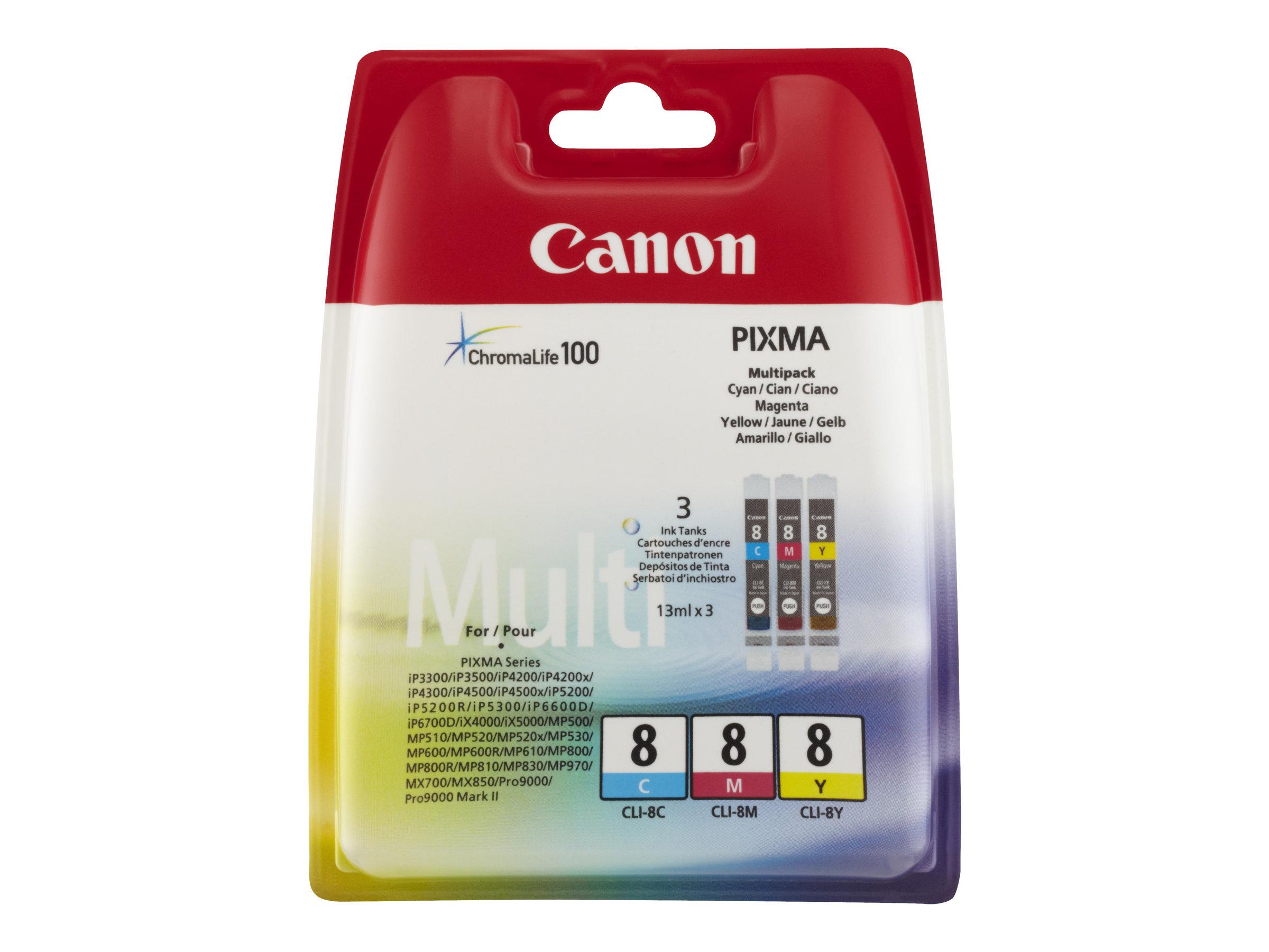 Canon CLI-8 Multipack - pack de 3 - jaune, cyan, magenta - originale - réservoir d'encre
