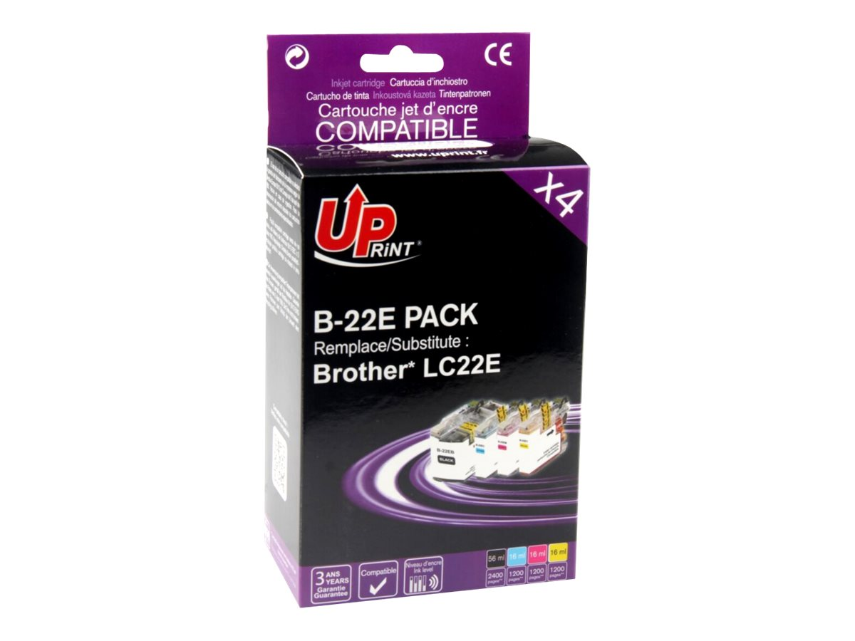 UPrint B-22E PACK - pack de 4 - noir, jaune, cyan, magenta - cartouche d'encre (équivalent à : Brother LC22EBK, Brother LC22EM, Brother LC22EC, Brother LC22EY)
