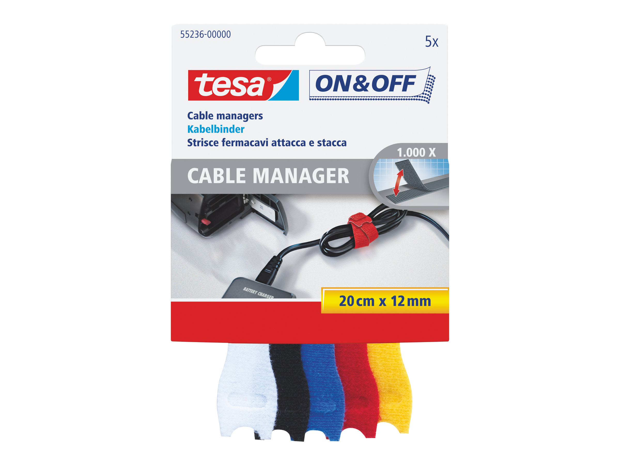 Tesa On & Off - 5 Attaches câble - noir, blanc, bleu, jaune, rouge - 20 cm
