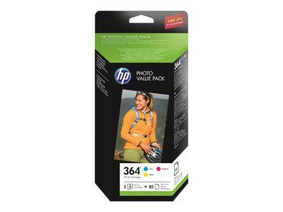 HP 364 Series Photo Value Pack - 3-balení - žlutá, azurová, purpurová - blistr - sada tisková kazeta / papír