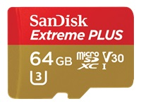 SanDisk Extreme PLUS - Flash memory card (microSDXC to SD adapter included) - 64 GB - Video Class V3