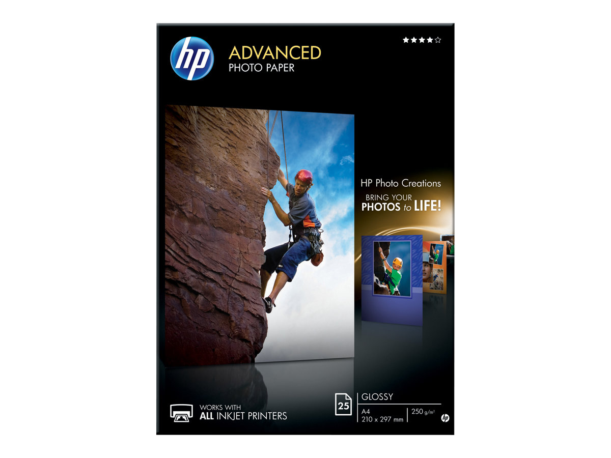 HP - Papier photo brillant - A4 (21 x 29,7 cm) - 250 g/m² - 25 feuilles