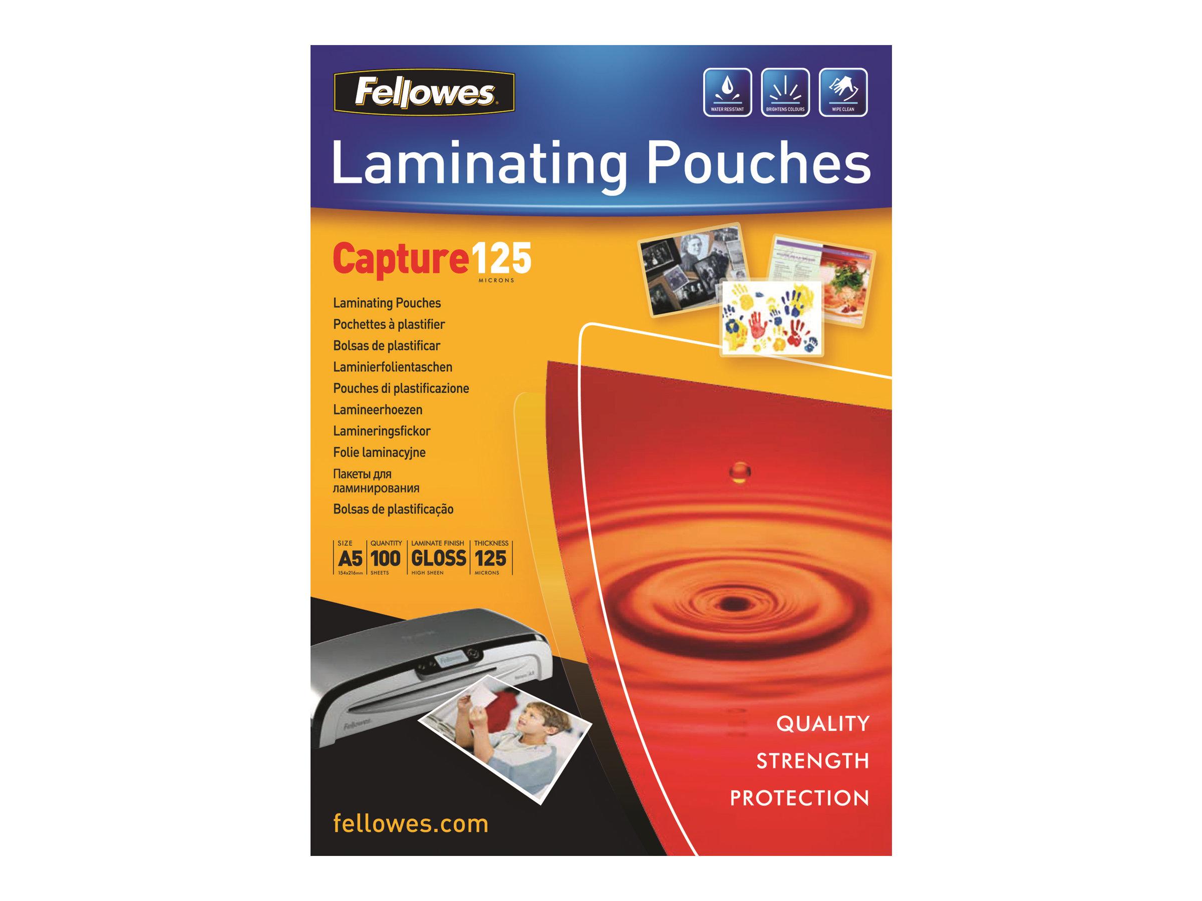 Fellowes - pack de 100 - brillant - pochettes plastifiées