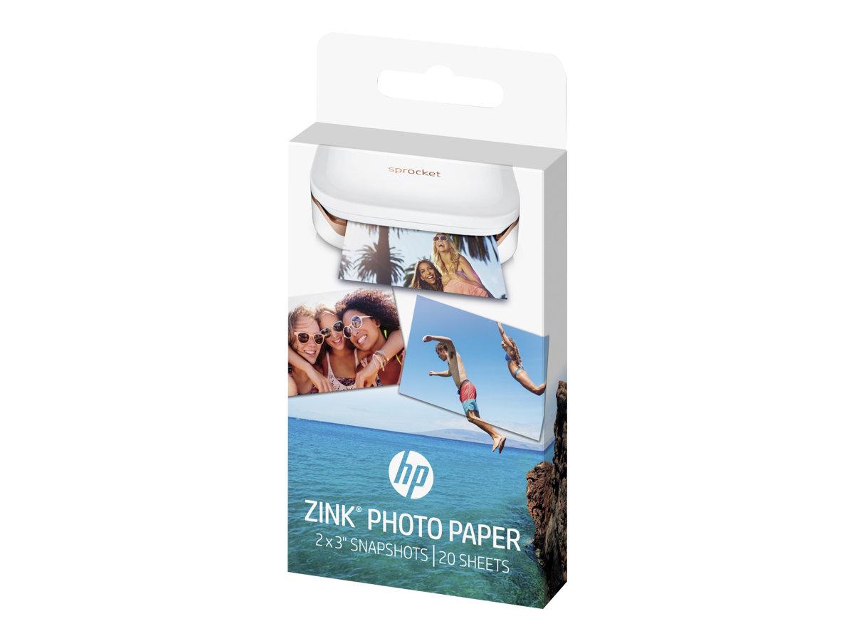 HP ZINK Sticky-Backed Photo Paper - Auto-adhésif - finition brillante - 50 x 76 mm - 290 g/m² - 20 feuille(s) papier photo - pour Sprocket Photo