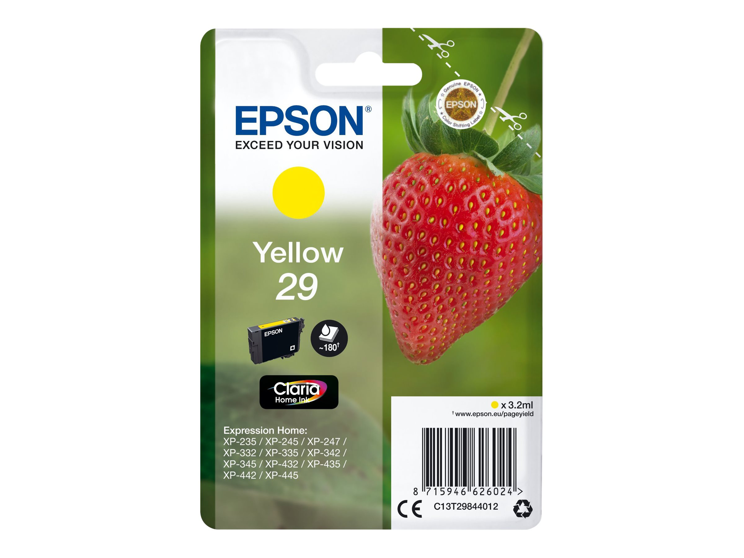 Epson T29 - fraise - jaune - originale - cartouche d'encre