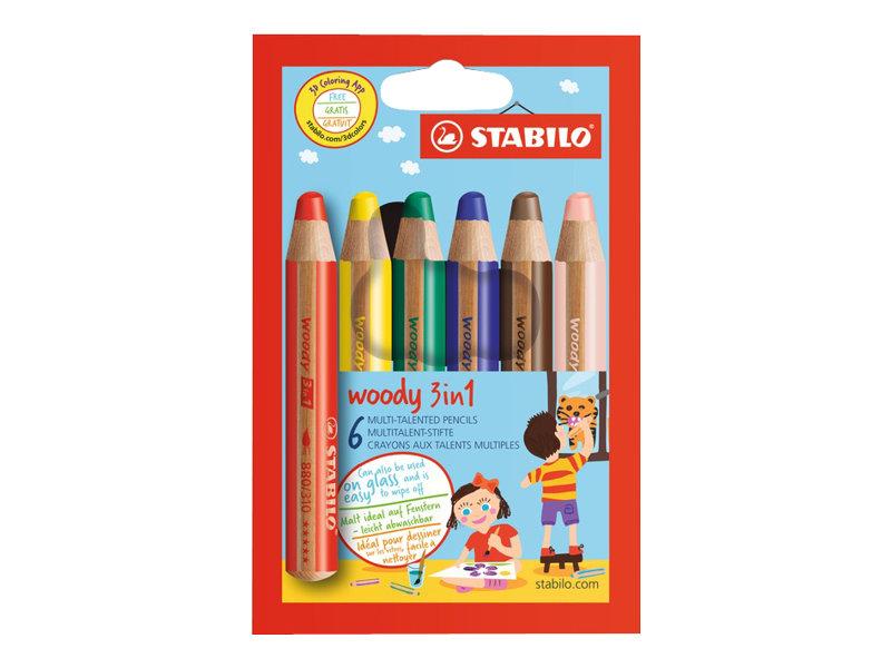 Stabilo woody 3 in 1 - Crayon de couleur - 10 mm - différents coloris