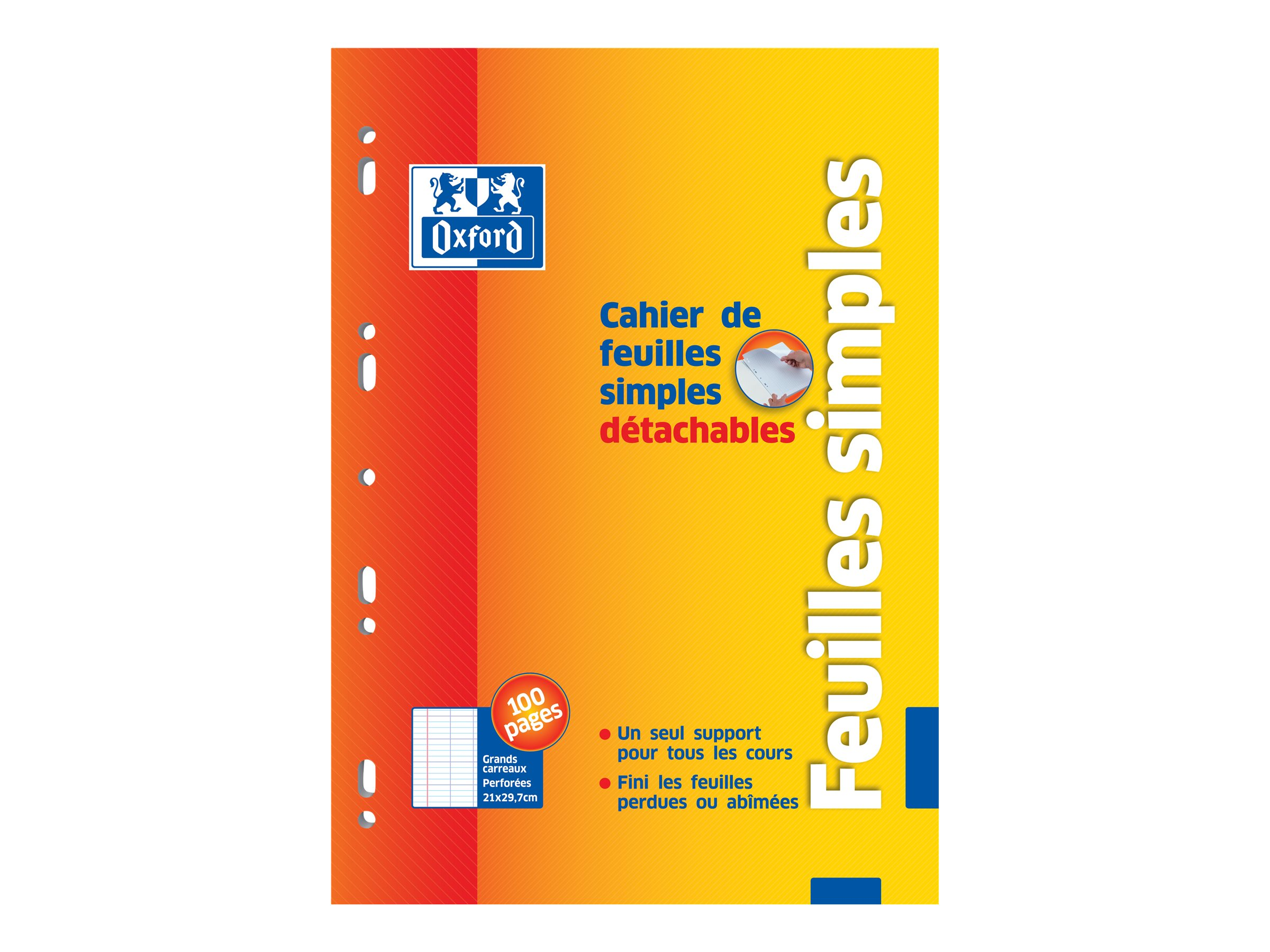 Oxford School - Cahier - feuilles mobiles - A4 - 100 pages - Grands carreaux