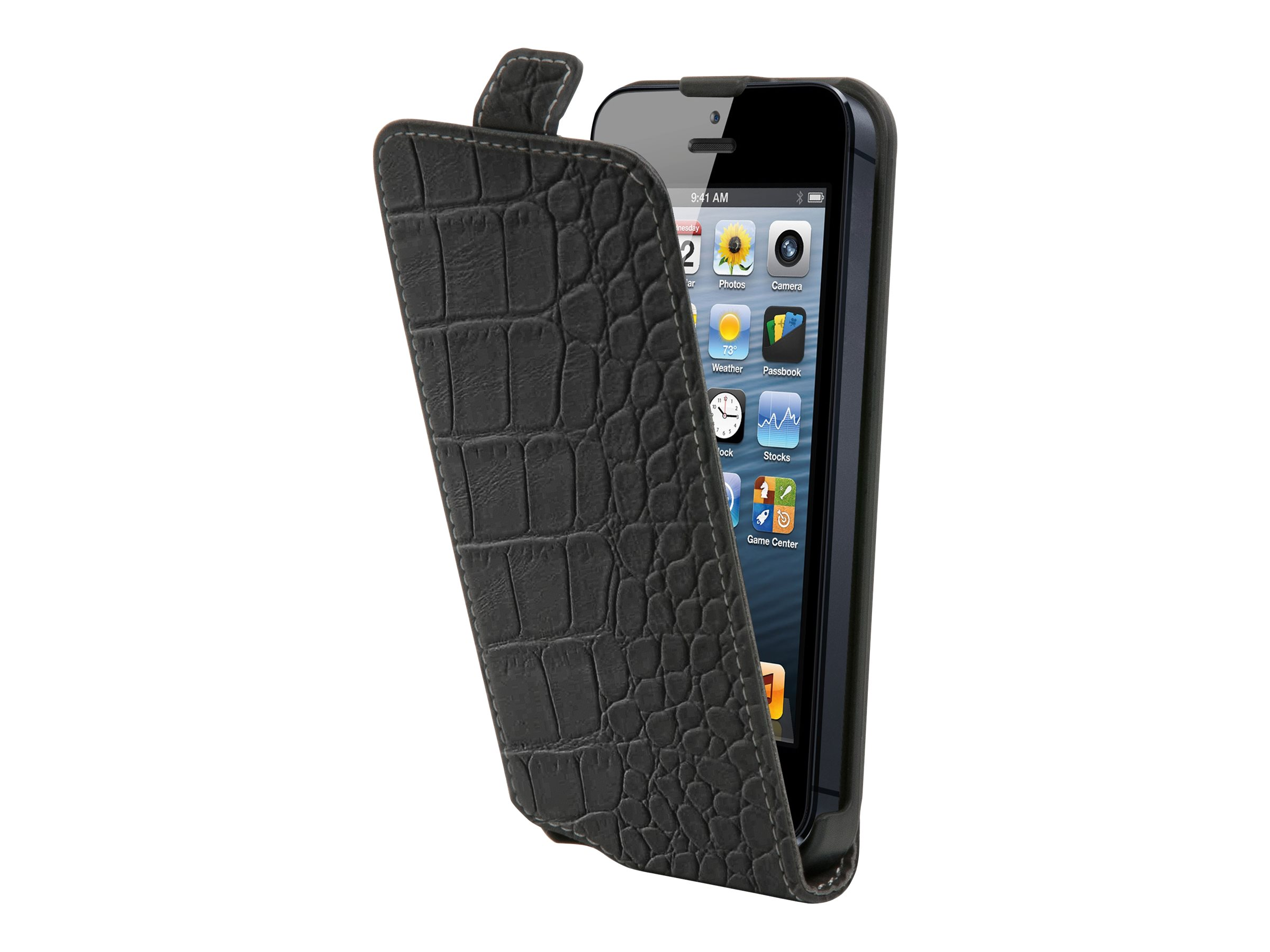Muvit Slim - Protection à rabat pour iPhone 5, 5s - croco noir