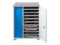 """LapCabby Lyte 10 Single - Cabinet unit for 10 notebooks / tablets - lockable - MDF, steel - gray, blue - screen size: up to 15.6"""" - floor-standing"""