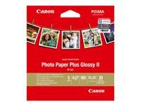 Canon Photo Paper Plus Glossy II PP-201 - Haute-brillance - 270 microns - 130 x 130 mm - 265 g/m² - 20 feuille(s) papier photo - pour PIXMA iP110, iP1980, iP4870, iP8770, iX6560, iX6770, MP258, MX727, PRO-1, PRO-10, 100