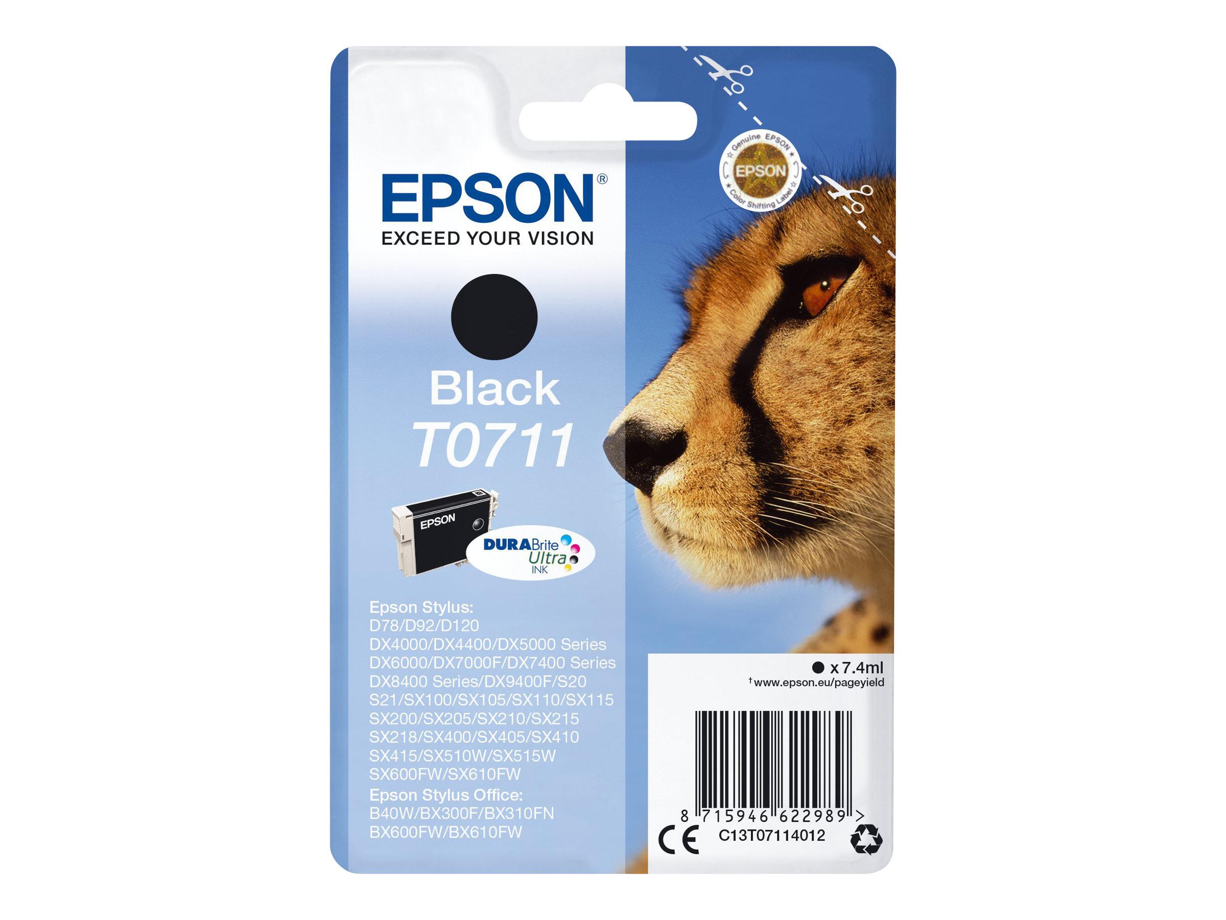 Epson T0711 - guépard - noir - original - cartouche d'encre